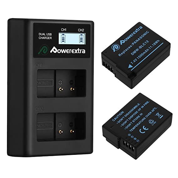 Powerextra 2 Pack Replacement Panasonic DMW-BLC12 Battery and Smart Dual USB Charger with LCD Display for Panasonic Lumix DMC-FZ200, DMC-FZ1000, ...