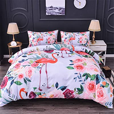 WURUIBO Flamingo Duvet Cover Set Twin Size for Girls Soft Microfiber 2 Piece (1 Duvet Cover + 1 Pillowcase), with Zipper and Ties, No Comforfter Insert: Home & Kitchen