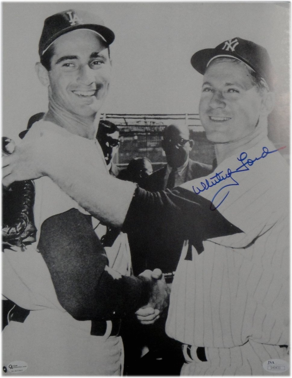 Whitey Ford Hand Signed Autograph 11X14 Photo Sandy Koufax Yankees OA JSA COA