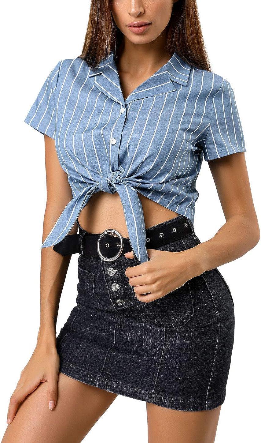 50s Shirts & Tops Allegra K Womens Striped Button Up Short Sleeve Tie Front Crop Shirt  AT vintagedancer.com
