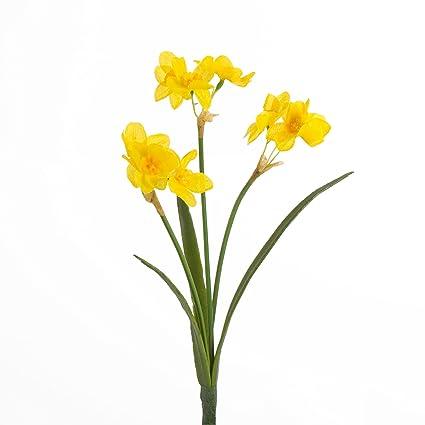 Narcisse Artificiel Pava 3 Tiges De Fleurs Jaune 27 Cm