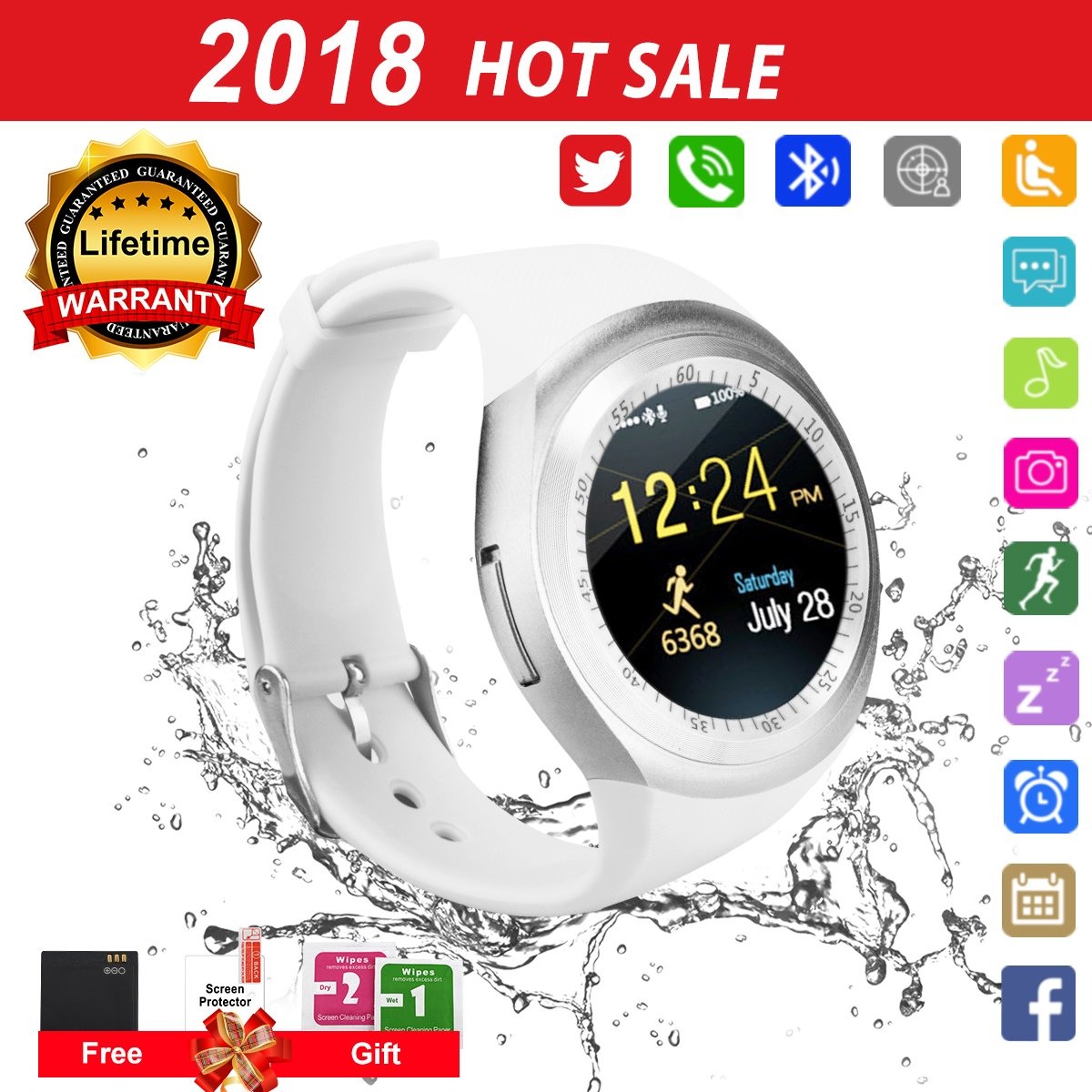 Smart Watch for Android Phones 2018 Bluetooth Smartwatch Android Phone Watch Waterproof Smart Watches Touchscreen with Camera Compatible IOS iphone X 8 7 6 6S plus Android Samsung for Women Man