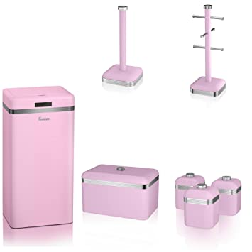 Bon Swan PINK Kitchen Accessories Retro Set Of 7   Retro PINK Bread Bin, 3 PINK