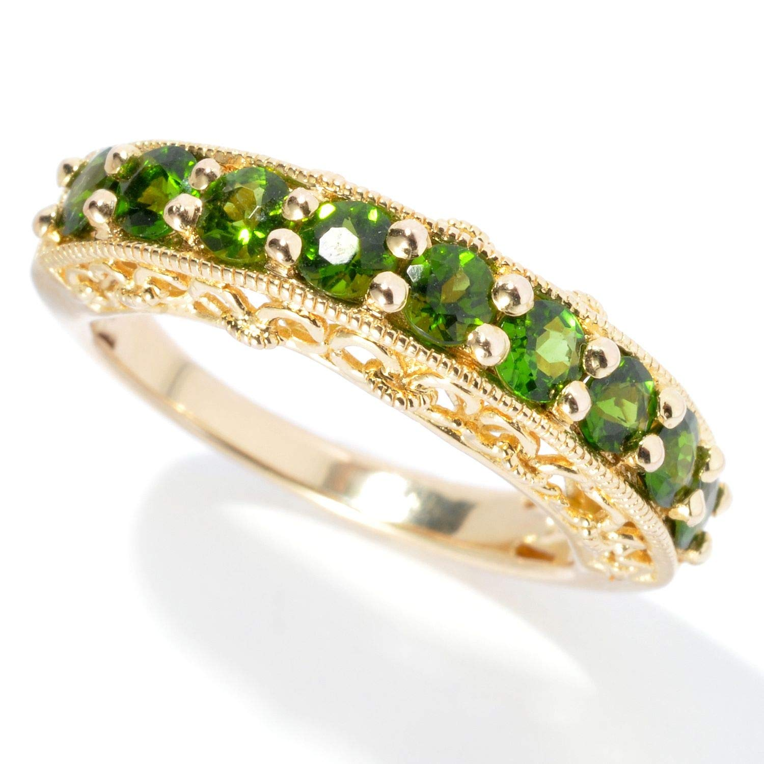 Size 7 Pinctore 18K Yellow Gold o//Silver 1.18ctw Chrome Diopside Nine Stone Band Ring