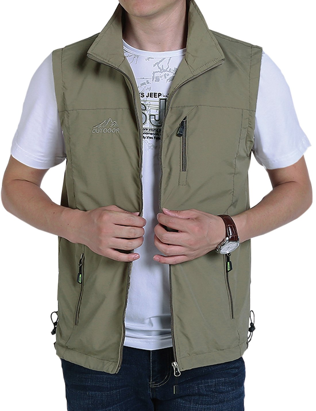 Jenkoon Men's Casual Lightweight Outdoor Travel Fishing Hunting Vest Jacket with Pockets (Khaki, Medium)