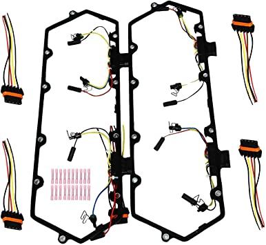 Valve Cover Gasket w//Fuel Injector Glow Plug Harness Fit for 7.3L 1997-2003 Powerstroke Diesel