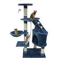 Todeco - Arbre à Chat, Perchoir pour Chat - Matériau: MDF - Dimensions de la Maison à Chat: 30,0 x 30,0 x 42,9 cm - 120 cm, 5 perchoirs, Bleu