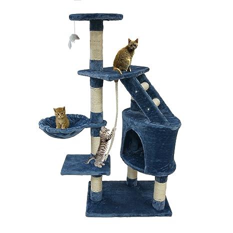 Todeco - Árbol para Gatos, Escalador para Gatos - Material: MDF - Tamaño de la casa de Gato: 30,0 x 30,0 x 42,9 cm - 120 cm, 5 Plataformas, Azul