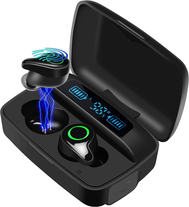Moosen Auriculares Bluetooth 5.0, Auriculares Inalámbricos 156H Tiempo de Juego Bajo Profundo Hi-Fi Sonido Estéreo In-Ear Sport Auricular con Mic, IPX7 Impermeable, Digital Display Estuche de Carga