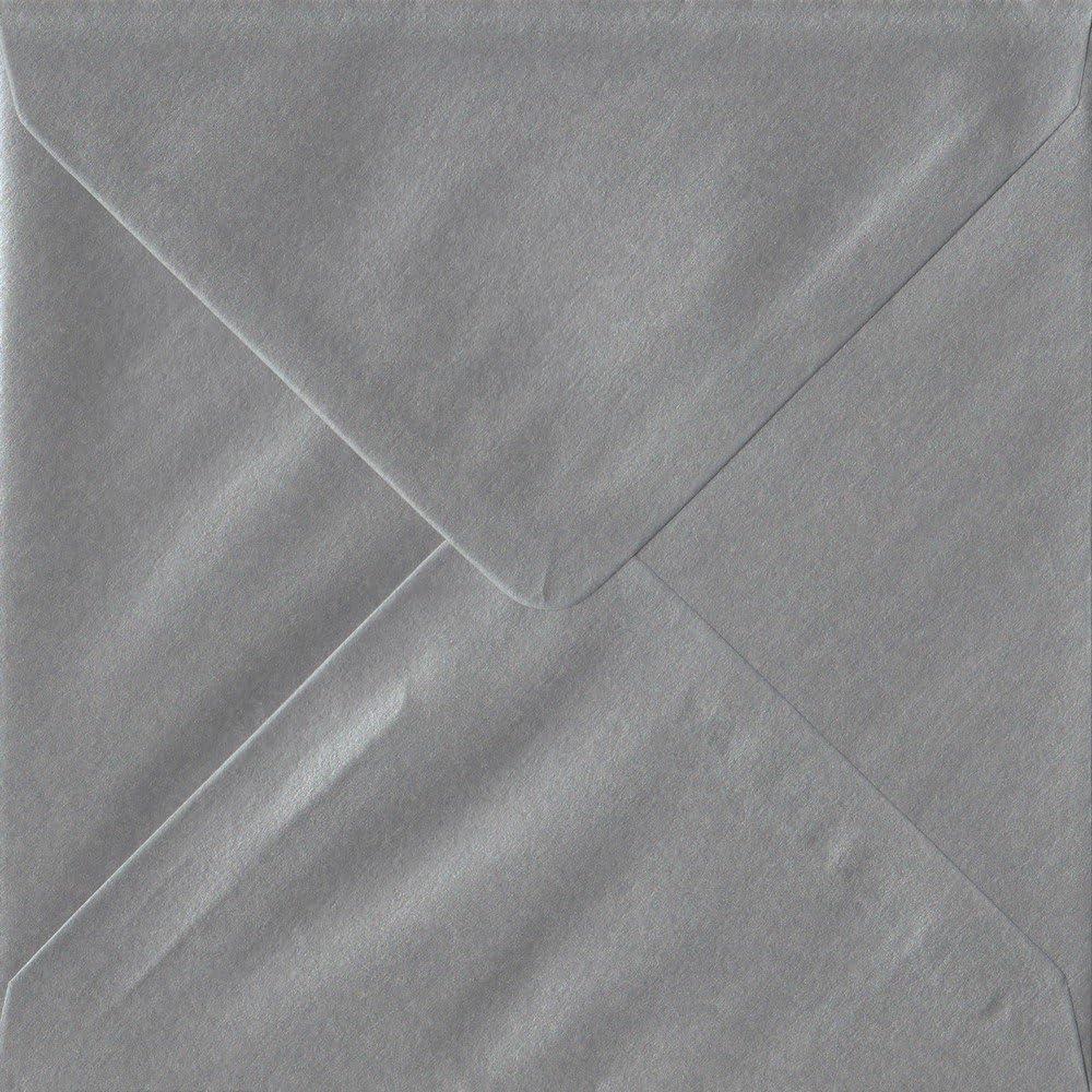 Metallic Silver S4-155 mm x 155 mm 100gsm Gummed Square Colour Envelopes