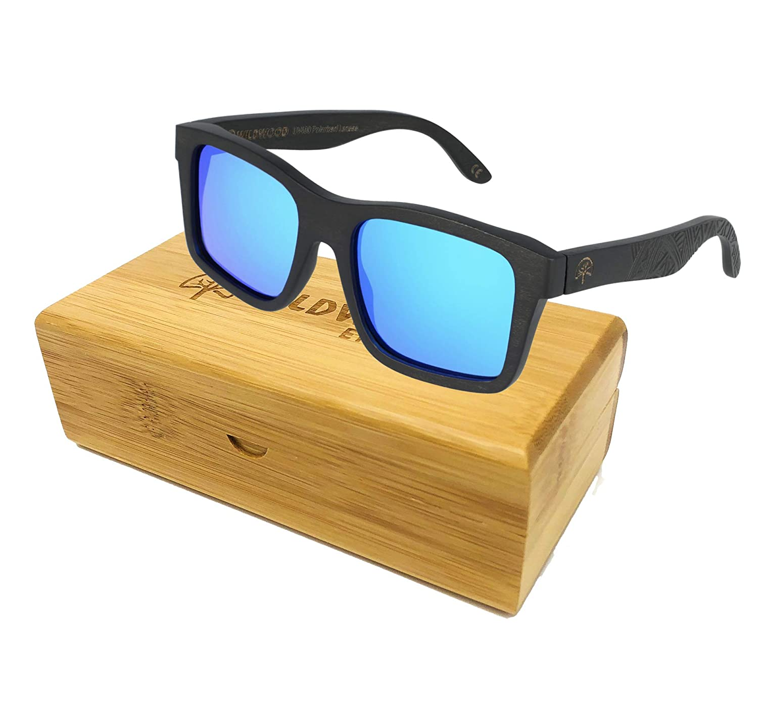The Islander Maple Wood Polarized Rectangular Frame Sunglasses by Wildwood