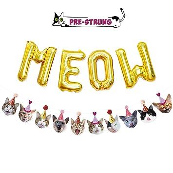 Amazon.com: Funny Cat Party guirnalda de carne, globos de ...