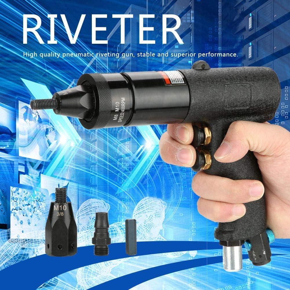 Pistolet /à riveter pneumatique Tool Pince /à riveter pneumatique Pistolet /à sertir les /écrous rivet pneumatiques avec changement rapide 6 mm et 8 mm M8//M10-KP-740A