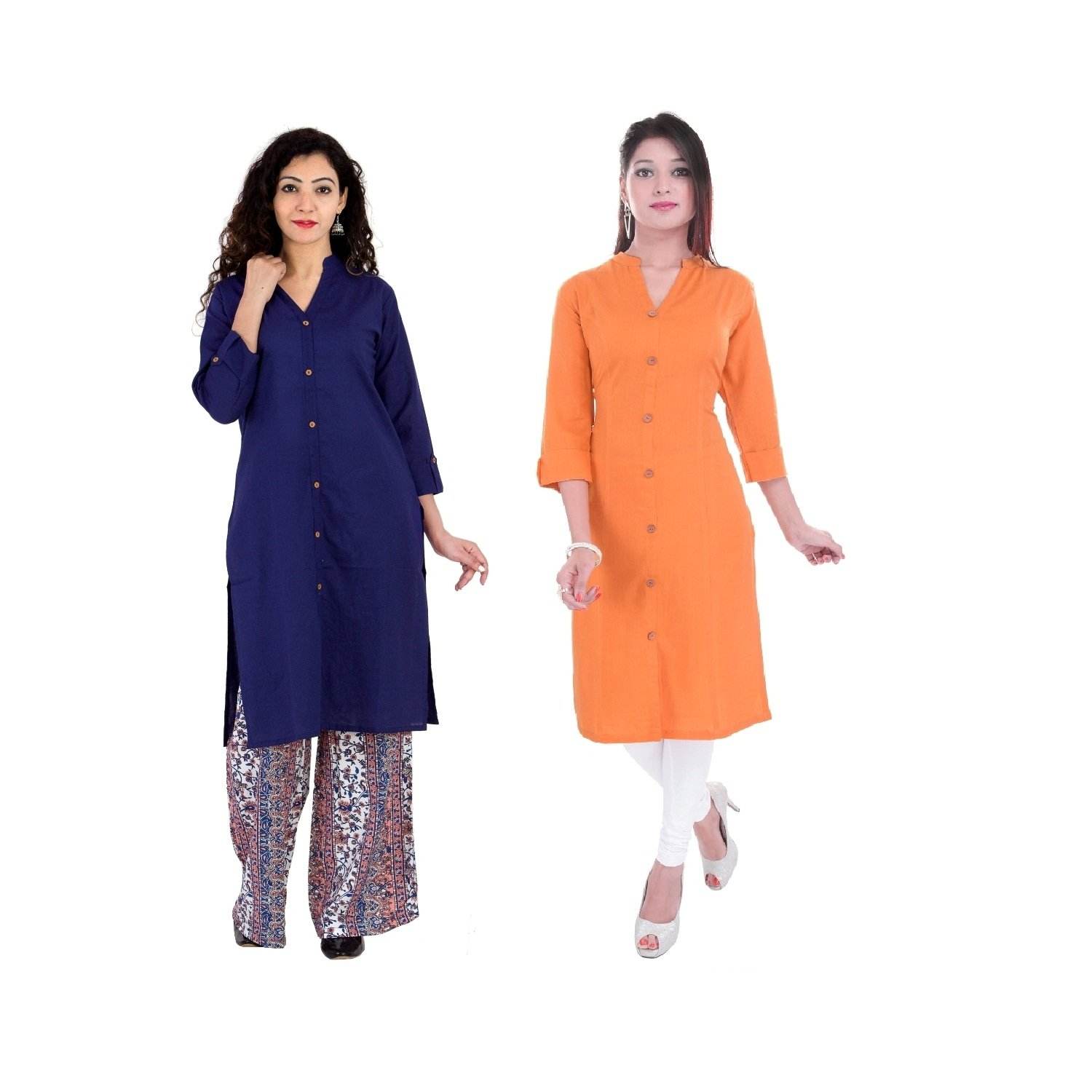 BrightJet Purple & Orange Cotton Kurti 2Pc Combo Women Wooden Button BJKCby0040