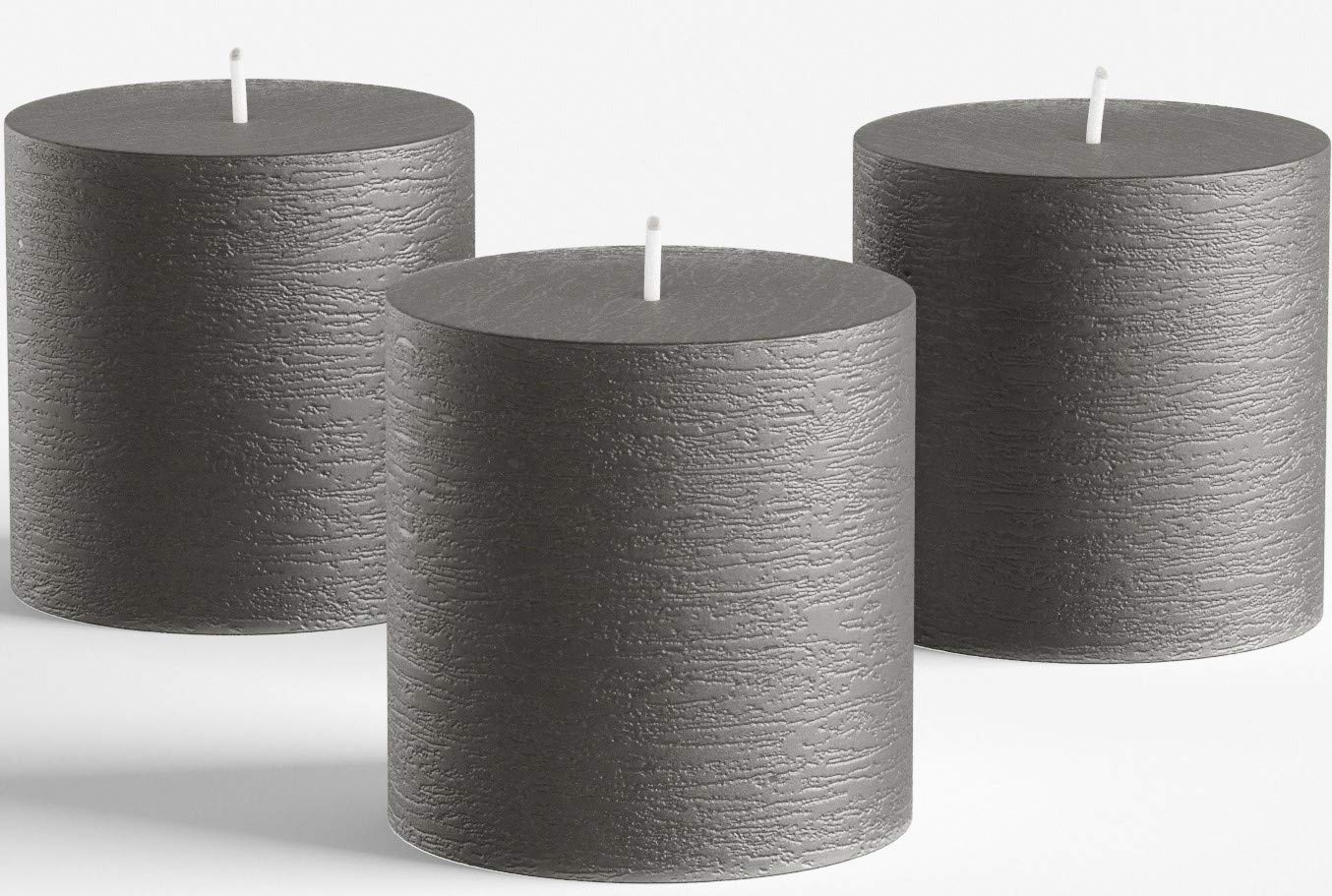 """Set of 3 Charcoal Pillar Candles Dark Grey 3"""" x 3"""" Unscented Rustic for Weddings Home Decoration Relaxation Spa Church Smokeless and Dripless"""