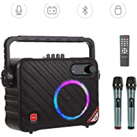 VeGue Portable Bluetooth Karaoke Speaker with 2 Wireless Mics amd LED Lights