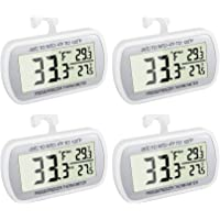 4 Pack Waterproof Digital Refrigerator Thermometer Large LCD, Freezer Room Thermometer with Magnetic Back, No Frills…