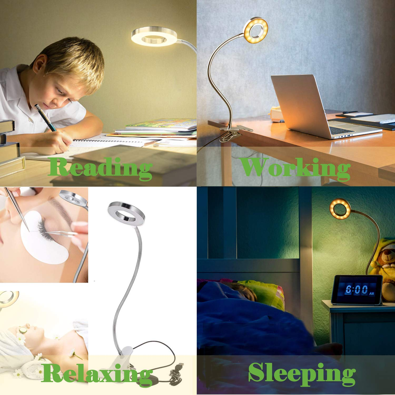 Bojim 5W Desk Lamp with 3 Color Temperature 10 Dimming Levels for Book Bedroom Eye-Care Reading Light Flexible USB Clip Light Clamp Lamp LED Clip on Light Table Desk Lamp Sliver Bedside