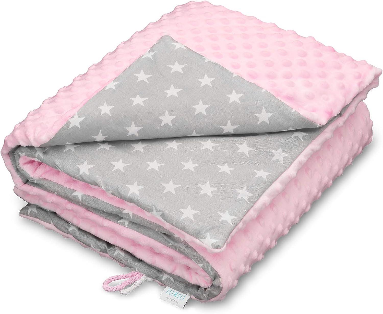 elimeli Minky Baby manta para gatear   Super Suave Minky Dots Forro Polar, algodón, relleno, 75x 100alta calidad rosa Pink - White Stars