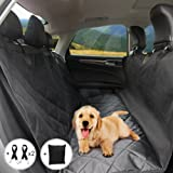 Calish Dog Seat Cover for Cars, Waterproof Pet Car Seat Covers, Dog Hammock, Heavy Duty Rear Seat Protector, Slip-proof, Black with Two Dog Seat Belt