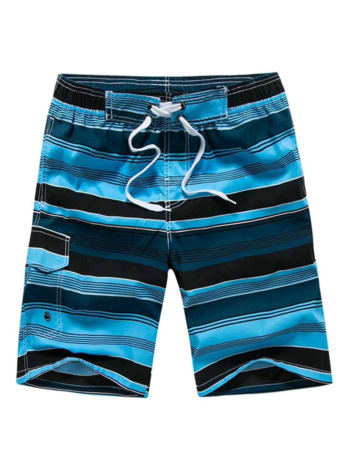 Aivtalk Men's Quick Dry Swim Trunks Colorful Strip Beach Shorts with Mesh Lining