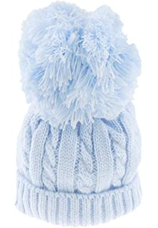White, 6-12 Months Super Soft Baby Girls Boys Warm Winter Chunky Ribbed Knit Pom Pom Bobble Baby Hat