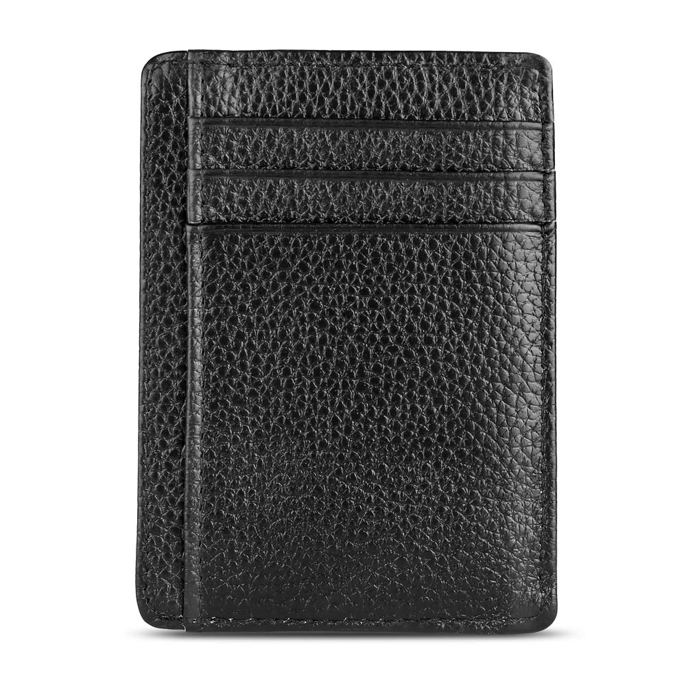 Genuine Leather Card Holder Aulola Slim Wallet Credit Card Case with ID Window