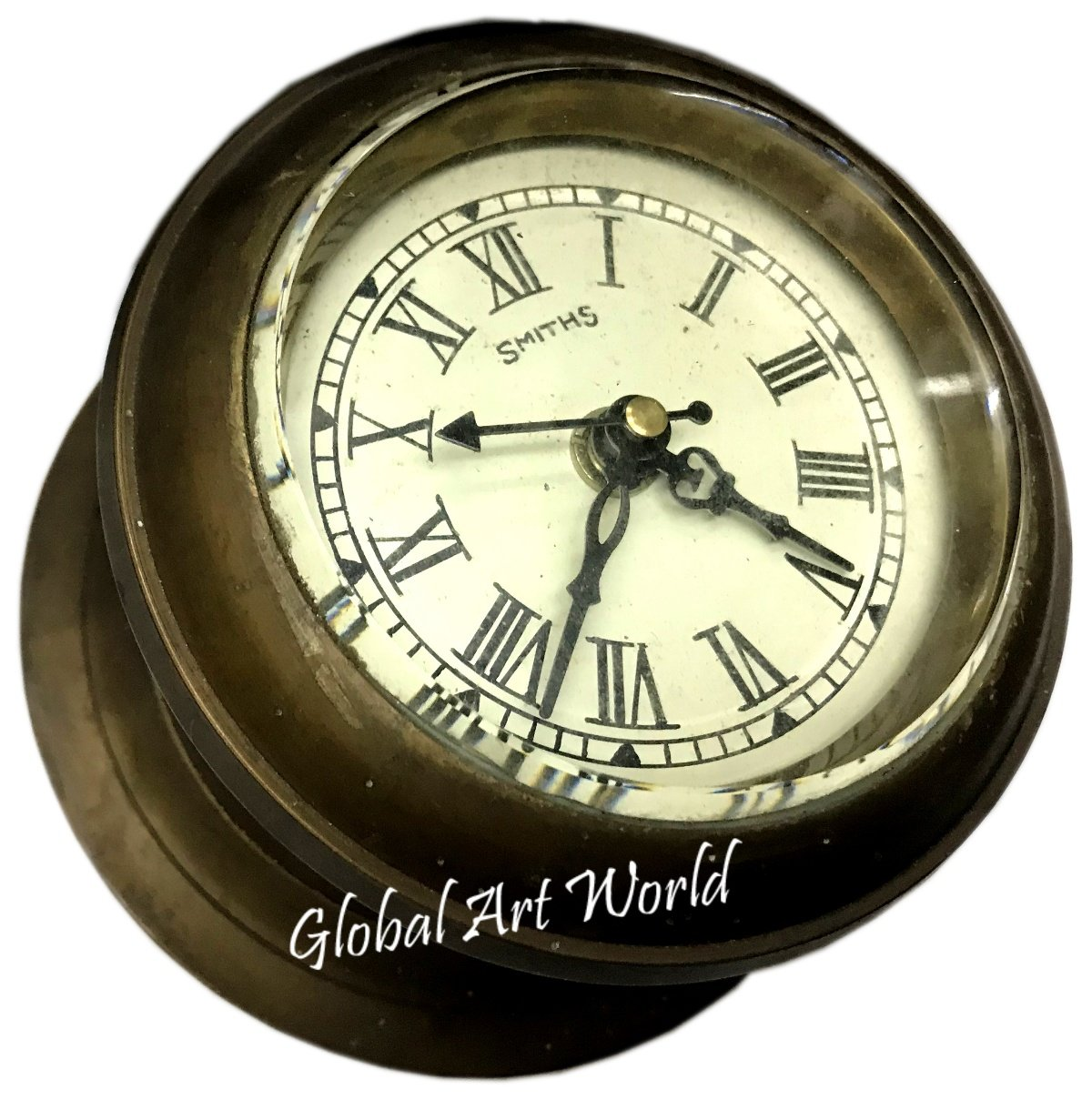 Antiques World Vintage 19th Century Made For London Royal Navy Antique 19th Century Marine Collectible With A Closing Lid On The Top Stylized Ship Wall Clock AWUSAHB 0262