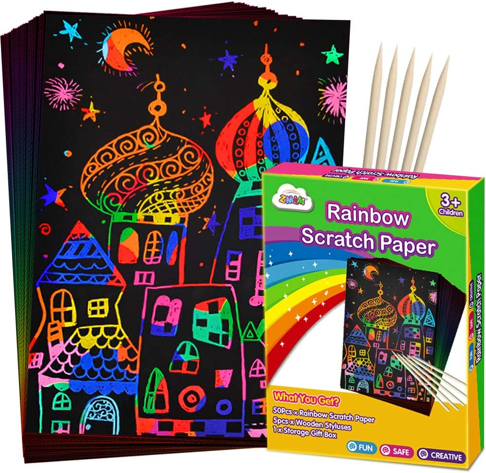 Baaxxango 50 PCS Scratch Art Paper Rainbow Scratch Paper with 5 Stylus for Kids,Black Scratch Off Art Crafts Paper Set,Perfect for Party Games Birthday Easter