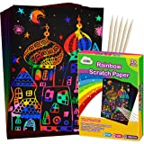ZMLM Scratch Paper Art Set, 50 Piece Rainbow Magic Scratch Paper for Kids Black Scratch it Off Art Crafts Notes Boards…