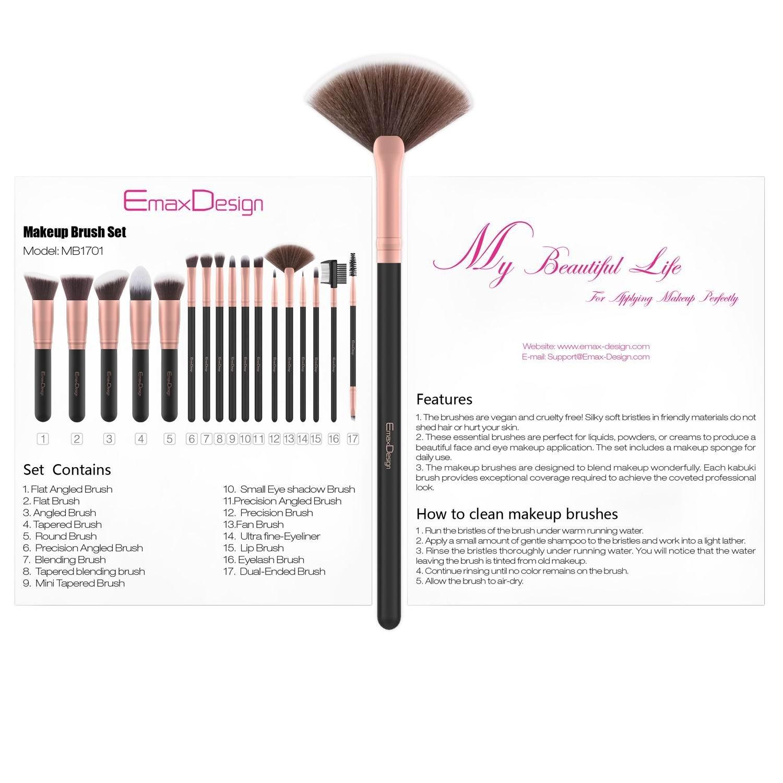 EmaxDesign Makeup Brushes 17 Pieces Premium Synthetic Foundation Brush Powder Blending Blush Concealer Eye Face Liquid Powder Cream Cosmetics Brushes Kit (Rose Gold) by EmaxDesign (Image #7)