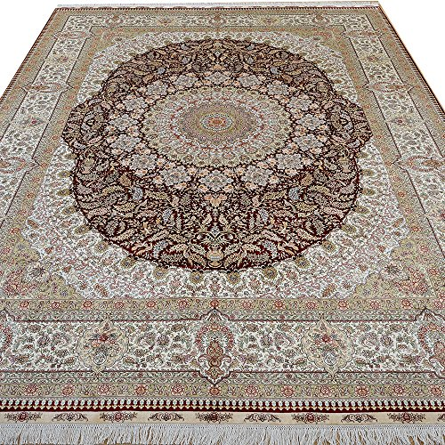 (Kerman Silk Rug Yilong 9'x12' Hand Knotted Classic Oriental Medallion Design Handmade Area Rugs (Ivory and Red) YL0882)