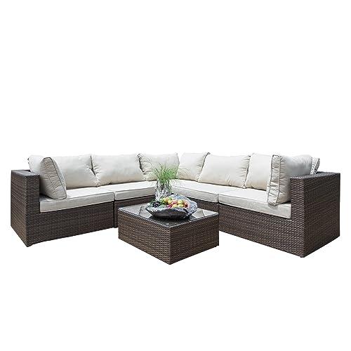 Supernova Outdoor Patio 6pc Sectional Furniture Wicker Rattan Sofa Set 6 Pcs Sofa Set