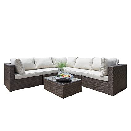 Amazon Com Supernova Outdoor Patio 6pc Sectional Furniture Wicker