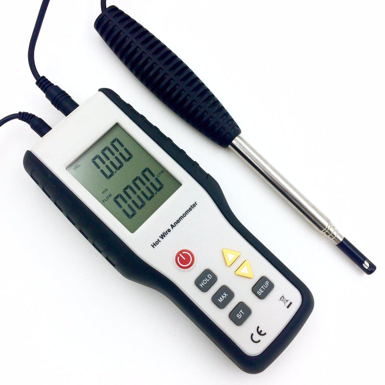 Perfect-Prime WD9829, Precise Sensitive HotwireThermal Anemometer Probe w/Telescopic Handle 41''