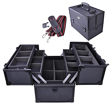 Amazon.com : Professional Large Black Aluminum Cosmetic Box Train Makeup Artist Storage Case - SciencePurchase : Beauty