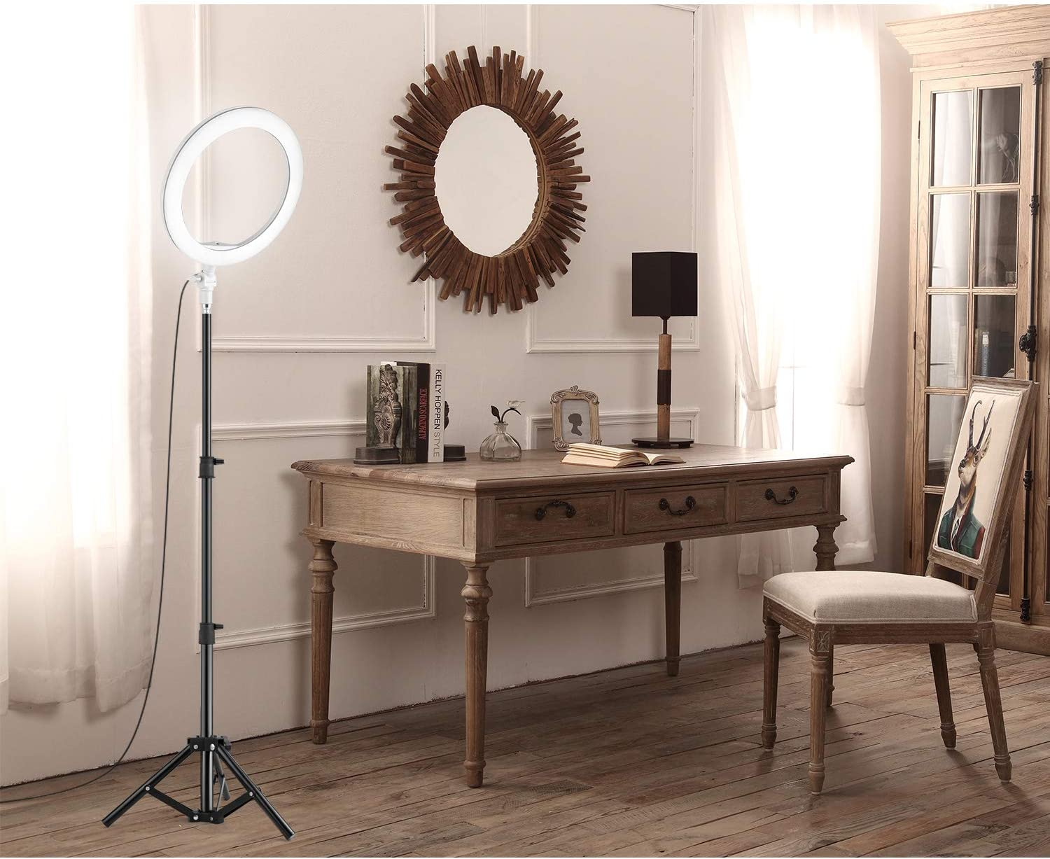 10.2 Ring Light Desk Makeup Video LED Selfie Ringlight with Stand Tripod Dimmable Circle Lights Lamp for Live Streaming YouTube Reading