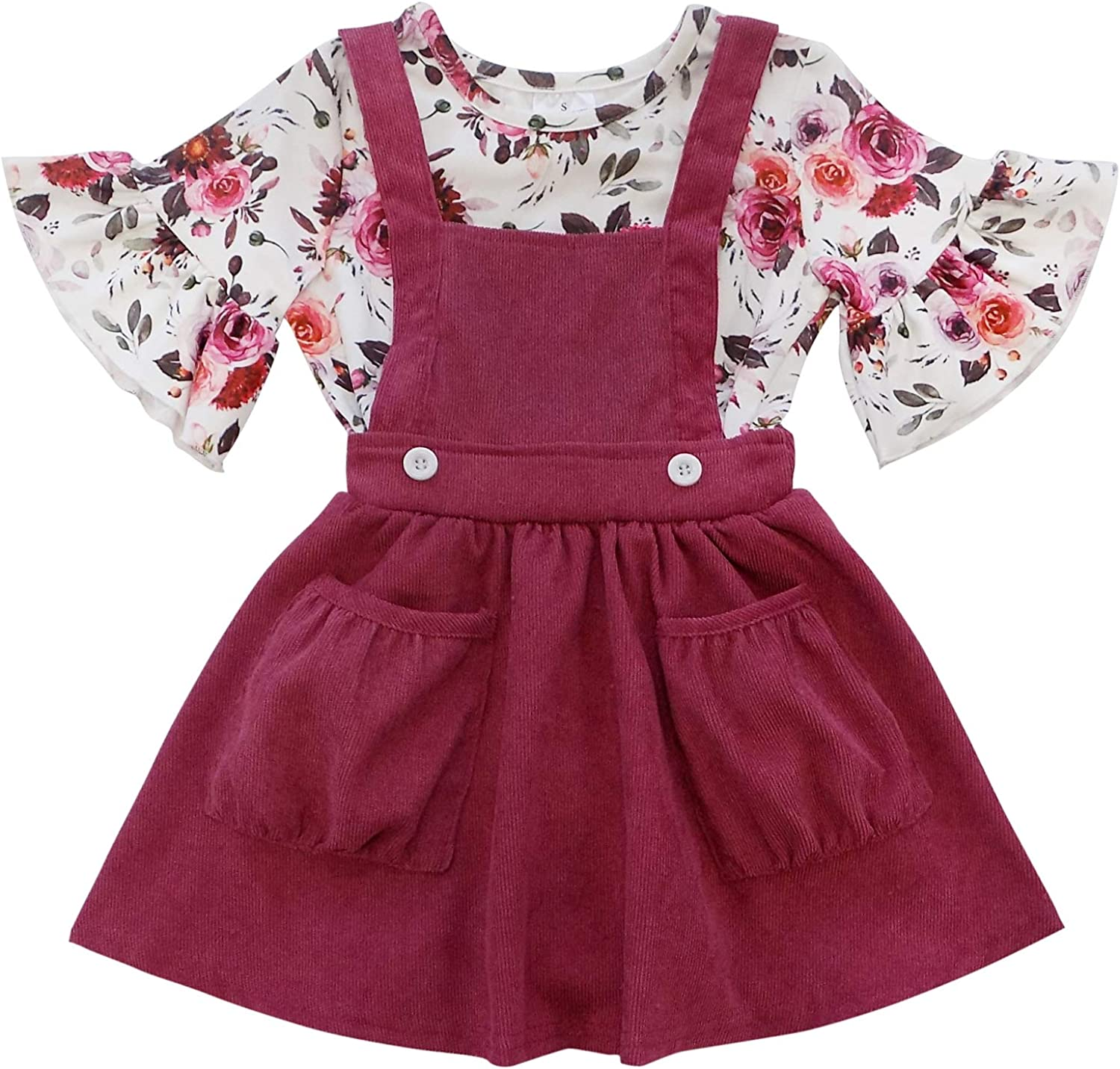 Overalls Skirt Cute Boutique Clothing Set Burgundy Blossoms So Sydney Girls Corduroy Jumper Outfit