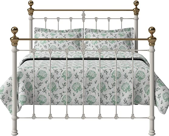 The Original Bed Co Lit Fer Forge Hamilton Cadre De Lit Metallique Avec Sommier A Lattes En Bois Ivoire Brillant 120 X 190 Cm