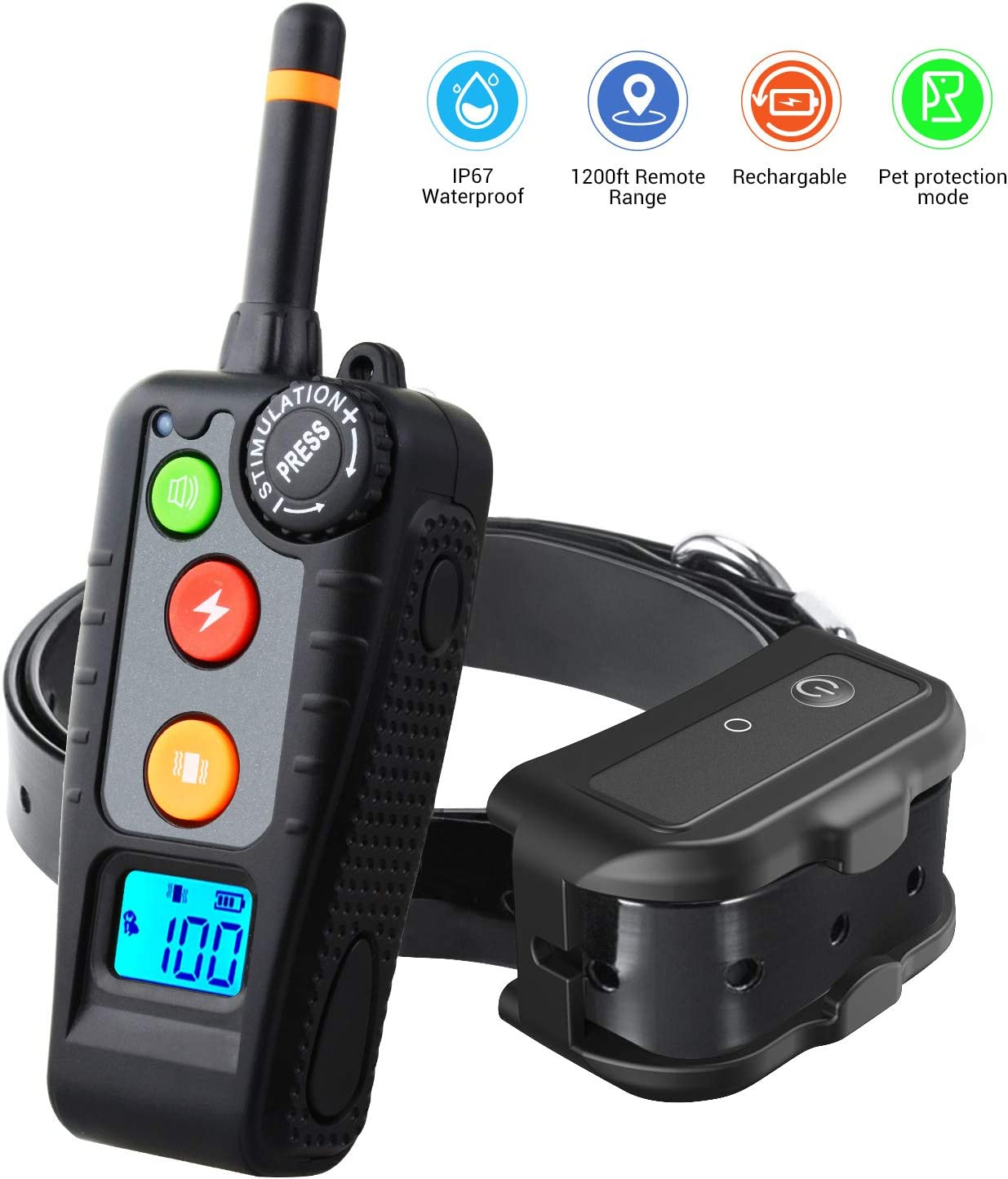 HISEASUN Dog Training Collar for 1 Dog Waterproof Rechargeable New 2019 Reflective Collar with Tracking Light,Beep,Vibration and Shock