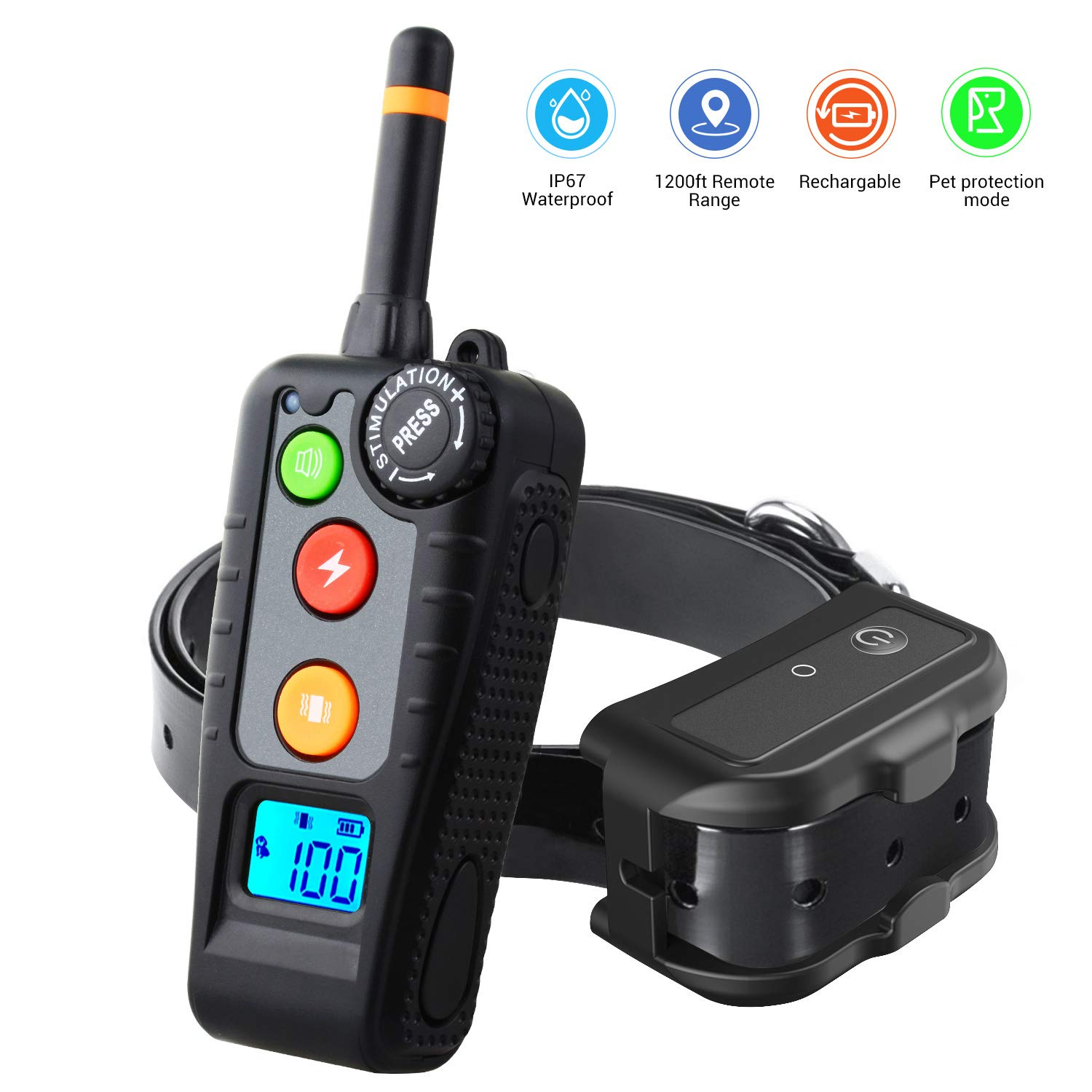 HOLDOG Rechargeable Dog Training Collar with 3 Training Modes, Beep, Vibration and Shock, 100% Waterproof Dog Shock Collar for 1200FT Remote Range