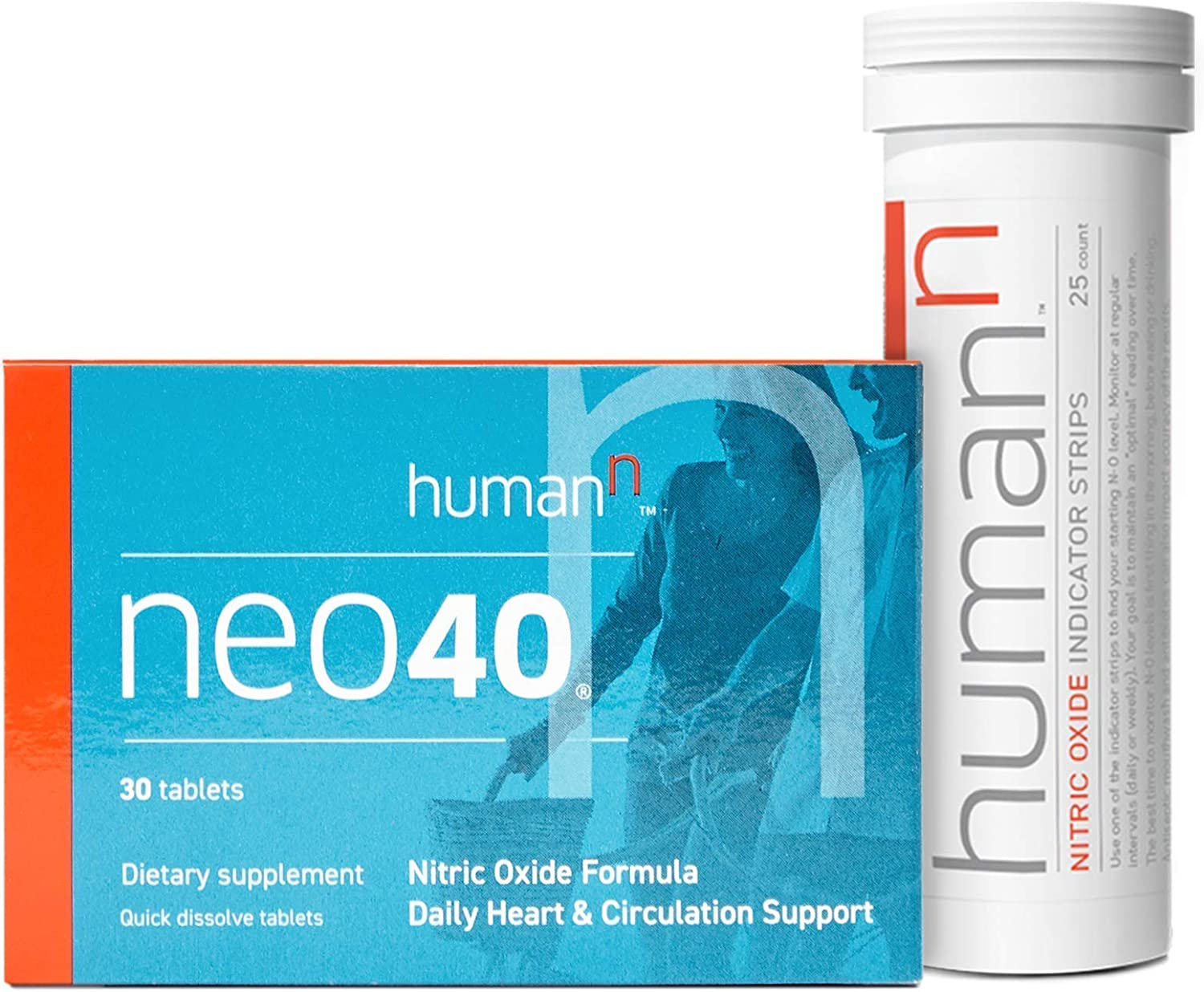 HumanN Neo40 Daily Bundle   Heart and Circulation Support Nitric Oxide Boosting Supplement with N-O Indicator Test Strips, 30 Tablets with 25 Strips, Bundle