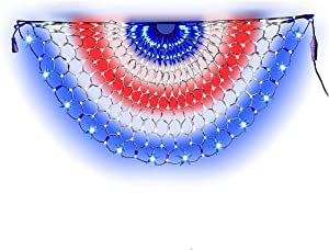 LED American Christmas Lights Pleated American Flag Lights 4 x 2 Feet Patriot Decorations Holiday, Garden, Indoor and Outdoor Waterproof Flag Lights (1Pack)