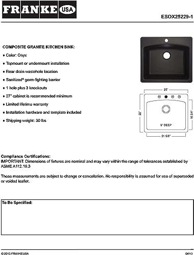 Franke ESOX25229-1 Ellipse 25 Dual Mount Granite Single Bowl Kitchen Sink, Onyx, 25 x 22 x 9 ,