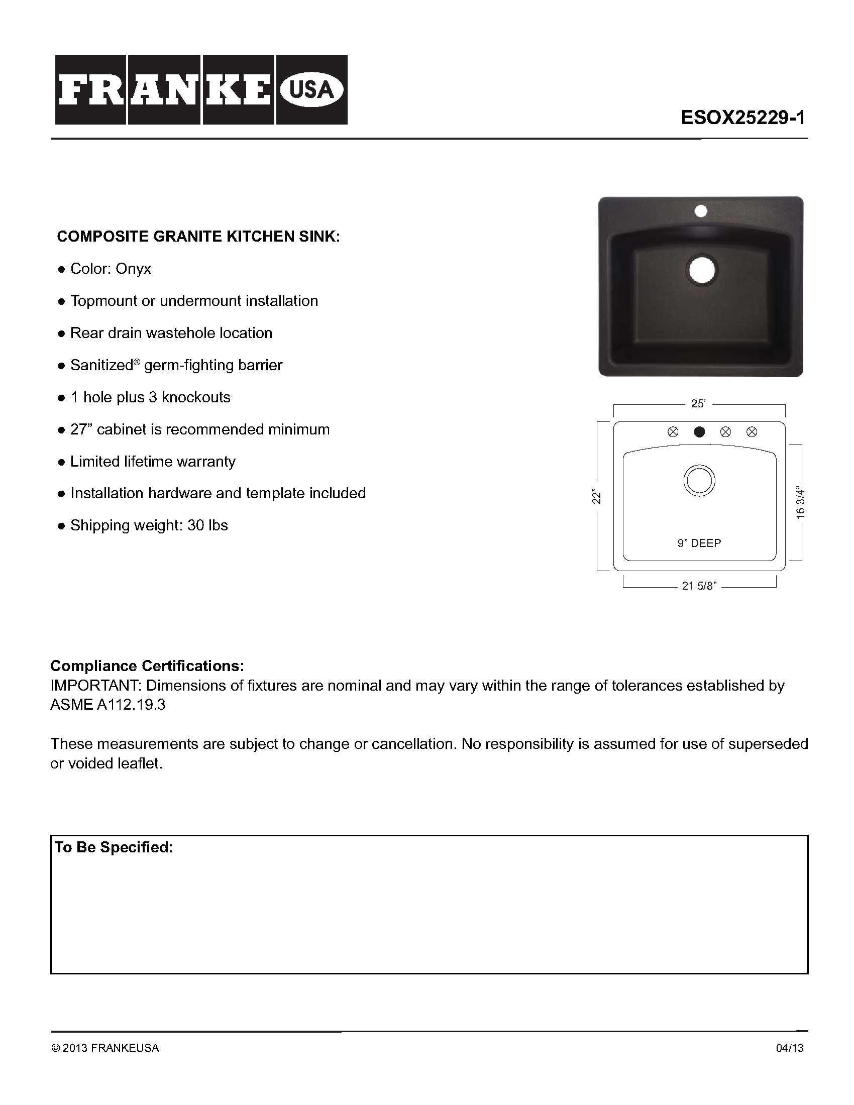 Franke ESOX25229-1 Ellipse 25'' Dual Mount Granite Single Bowl Kitchen Sink, Onyx, 25'' x 22'' x 9'', by FrankeUSA