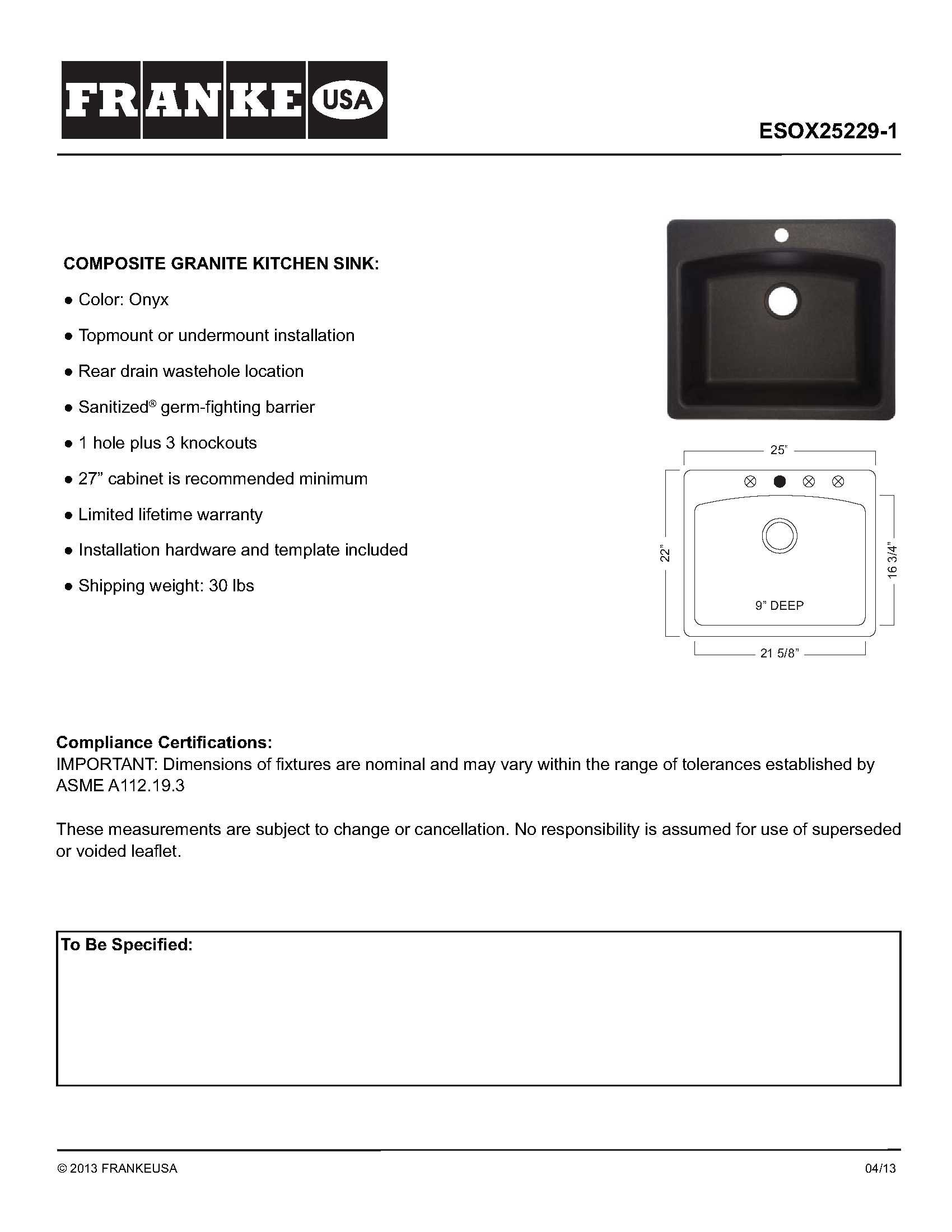 Franke ESOX25229-1 Ellipse 25'' Dual Mount Granite Single Bowl Kitchen Sink, Onyx, 25'' x 22'' x 9'',