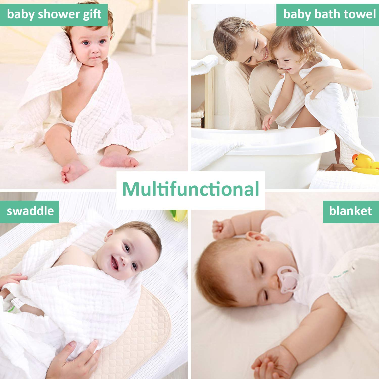 for Boys and Girls Soft Thick and Absorbent Muslin Baby Towels Luxury Baby Shower Gift for Newborns Infants Toddlers /& Kids Umiin Set of 2 Baby Bath Towels Muslin Baby Blanket 41.5x 41.5