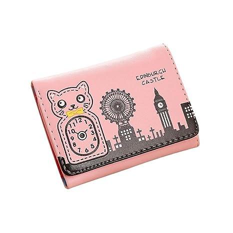 owill mujeres niñas gato reloj patrón Monedero Corto billetera trivial cosas bolsa de almacenamiento