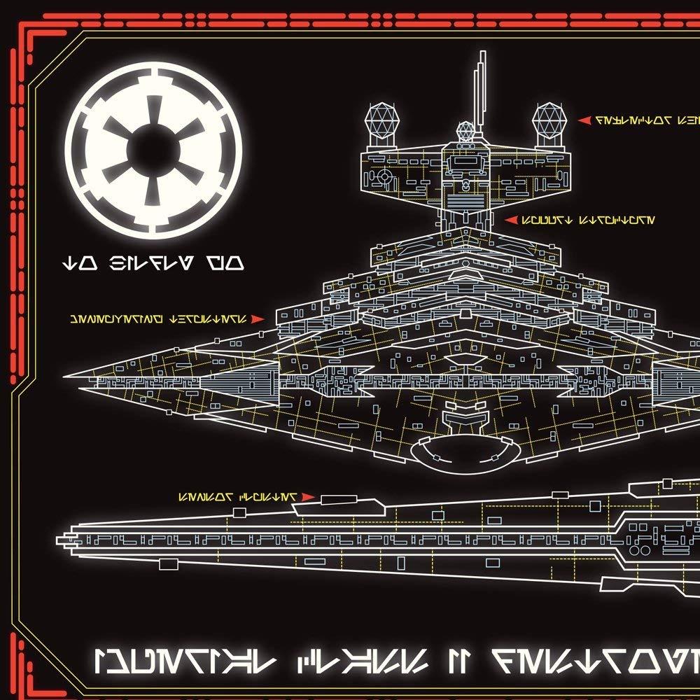 Imperial Star Destroyer Schematics 36 x 11.75 Panoramic