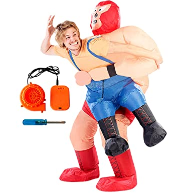 Amazon Com Inflatable Wrestler Sumo Cosplay Costume Funny Blow Up Halloween Suit Clothing